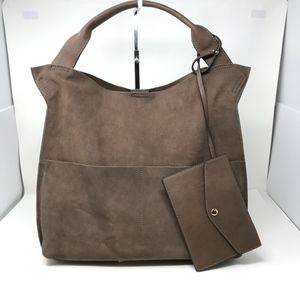 Sole Society Jamari Suede Leather Pocket Tote Bag
